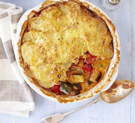 A classic French vegetarian casserole, oven-baked with a cheesy potato gratin topping for great texture