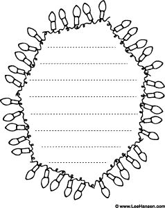 christmas lights border paper to color in with writing guide lines inside the frame border - Christmas Writing Pages