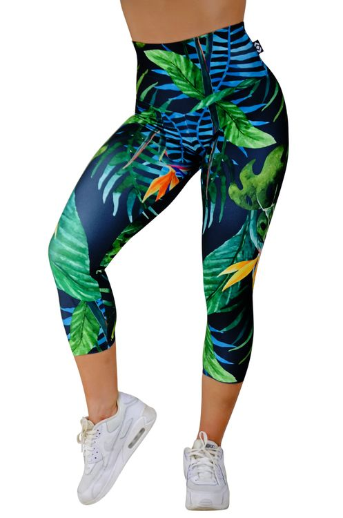 Performance High Waisted Capri Leggings - Tropical Nights Made to measure Capris now available at www.exoticahtletica.com.au