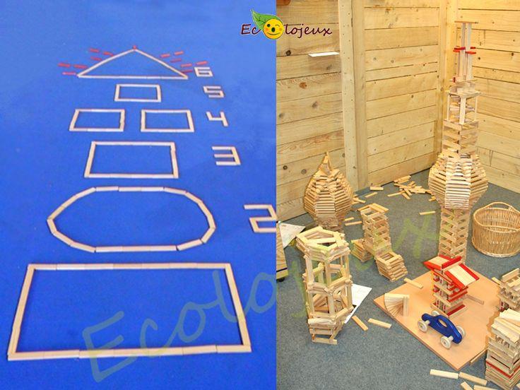 Jouer à la marelle avec des planchettes en bois Kapla, qui y avez pensé. Sur notre stand Ecolojeux les enfants l'ont fait ! https://www.ecolojeux.com/48-jeux-construction-en-bois