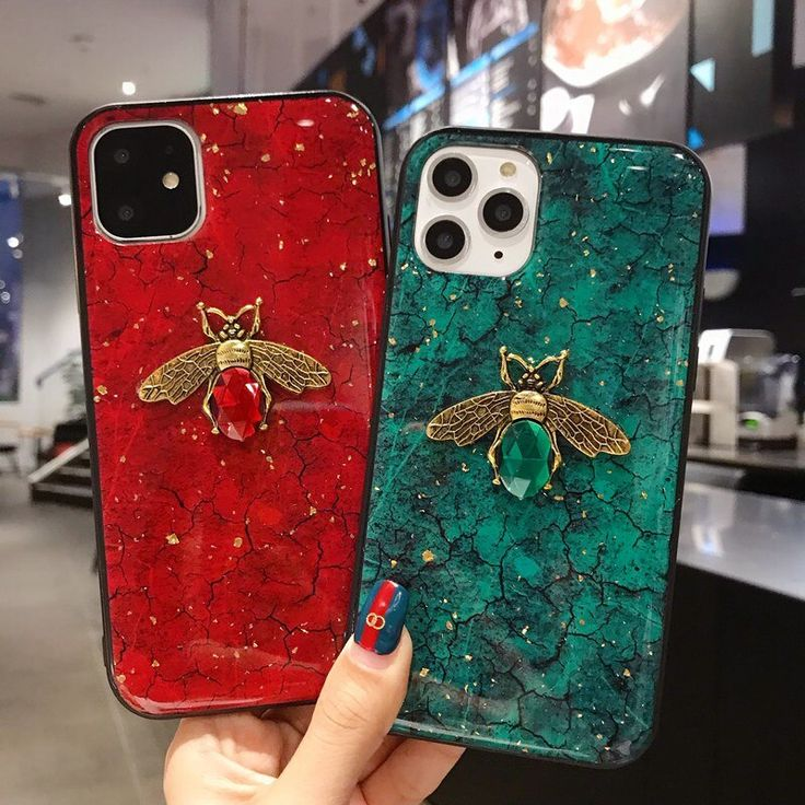 Diamond bee bling gold foil epoxy case for iphone 11 pro