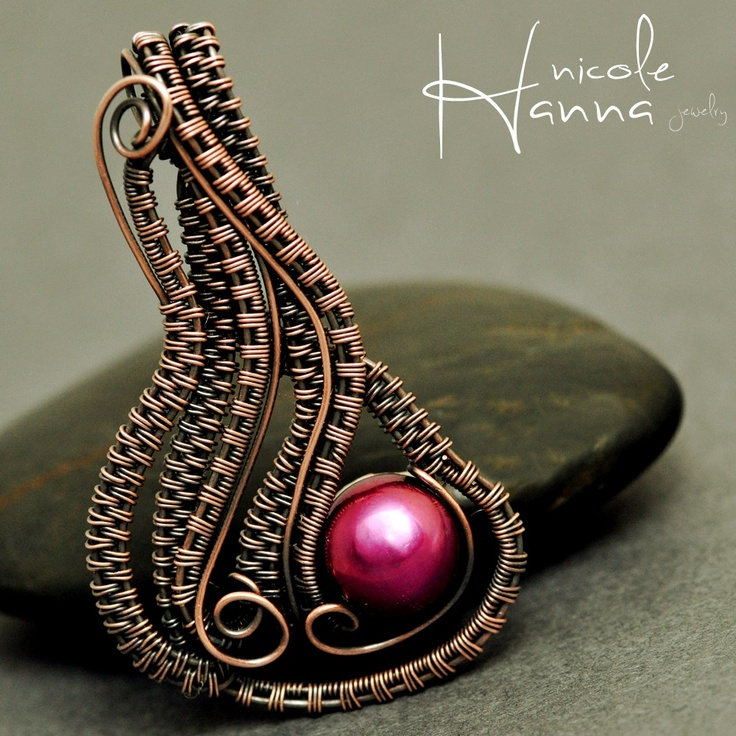 Nicole Hanna Jewelry | Plum Pearl Wire Wrapped Wave Copper Pendant