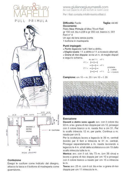 """PULL PRIMULA  Per chi ama il classico accostamento bianco/blu proponiamo un pull in lana leggera, realizzato con una modellazione lineare molto semplice! Il filato che abbiamo usato è """"New Primula"""" di Miss Tricot Filati da lavorare con i ferri n° 4. Buon lavoro!"""