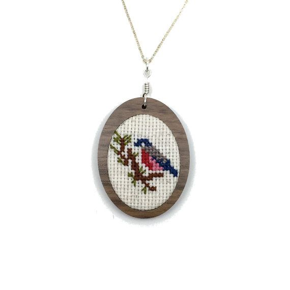 Joyería de Robin Robin collar pájaro adorno collar cruz puntada regalo Set colgante adorno vacaciones costura colgante Navidad