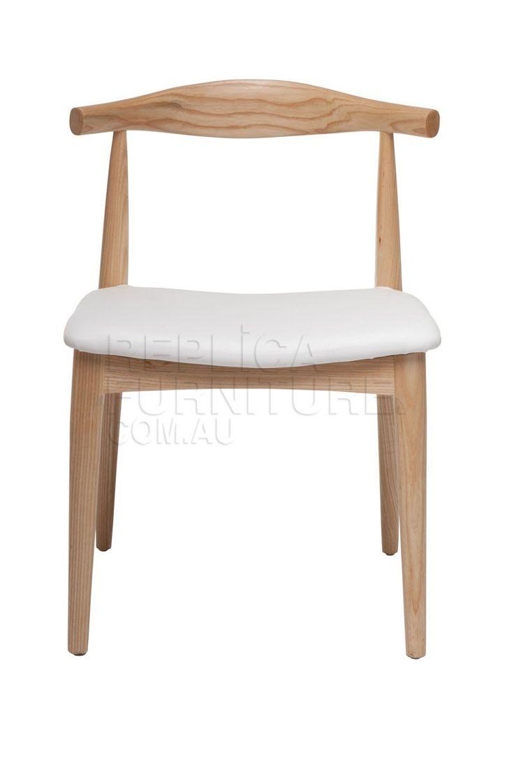 Replica hans wegner elbow chair ch20 ash with white seat this premium elbow chair replica - Wegner replica chairs ...