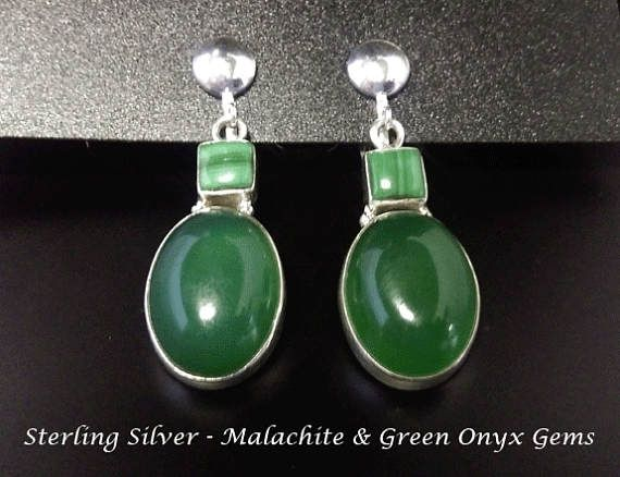 Clip On Earrings: Green Onyx and Malachite Gems in Sterling Silver Clip On Earrings | Silver Earrings, Gifts for Women, Gift Idea from www.mothersdayaustralia.net.au and https://www.etsy.com/shop/EarringsArtisan #cliponearrings #earrings #silverearrings #clipon #giftsforwomen #mothersday #mothersdaygiftideas #jewelry #jewellery