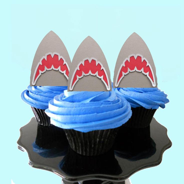 Shark Party Cupcake Toppers, shark party decorations, shark party decor, shark party, party decorations, food picks, jaws party by carnivalpapier on Etsy https://www.etsy.com/listing/464336921/shark-party-cupcake-toppers-shark-party