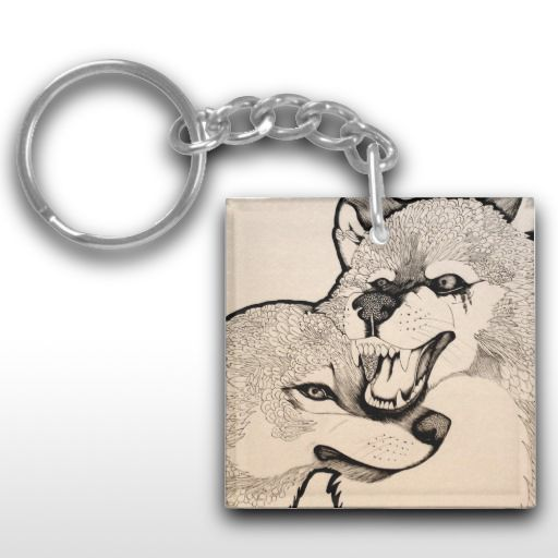 """Again"" Abstract wolf pair Keychain"