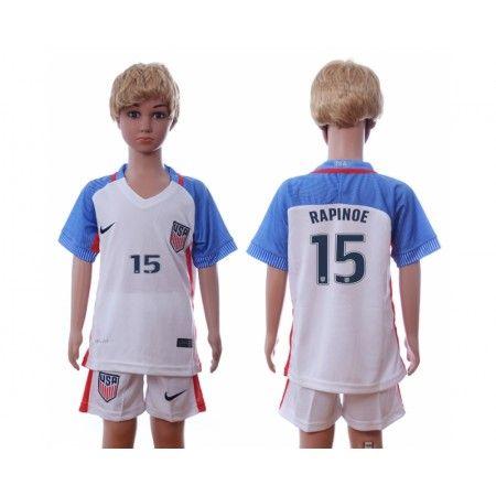 USA Trøje Børn 2016 #Rapinoe 15 Hjemmebanetrøje Kort ærmer.199,62KR.shirtshopservice@gmail.com