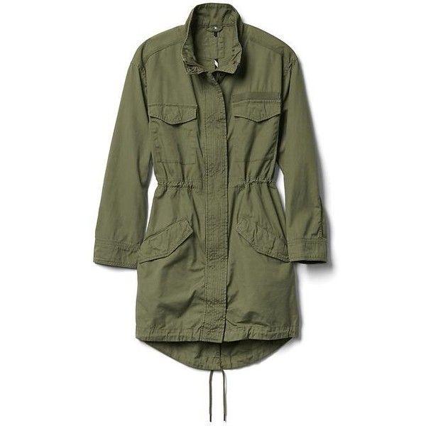 Gap Women Long Utility Jacket ($108) ❤ liked on Polyvore featuring outerwear, jackets, gartland green, tall, gap jackets, straight jacket, long jacket, green utility jacket and cinch jackets