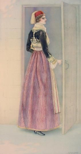 Festive woman's dress.  From Siatista (Greek Macedonia).  Clothing style:  urban, early 20th century.