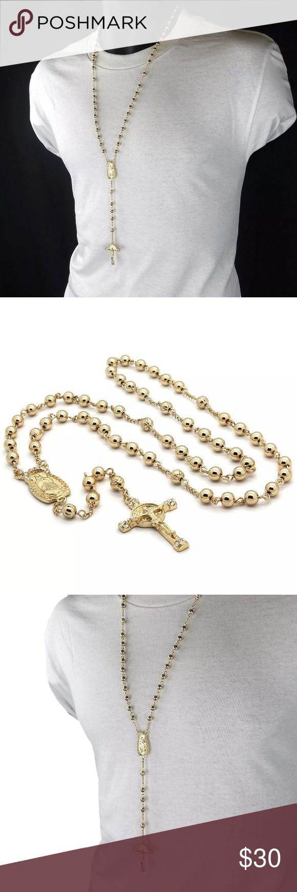 "New Gold Rosary Necklace Cross Guadalupe Chain Rosary Length: 32"" Circumference Cross Pendant Measurements: 1-3/4"" Inches x 1"" Inch Guadalupe Charm Measurements: 2"" Inches Charm to Cross Measurement: 7 Inches Shiny Gold plated. Item is BRAND NEW. Jewelry Necklaces"