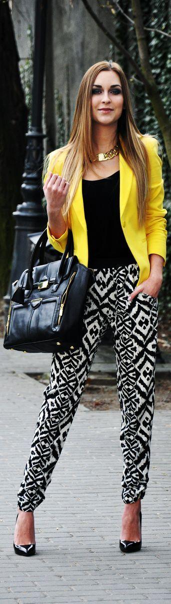 Bright yellow and printed pants