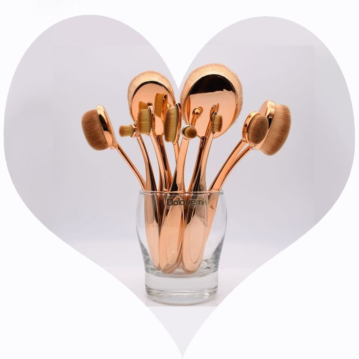 PRO Makeup Oval Brushes Set in Rose-gold for Eyebrow Powder BB Cream Foundation