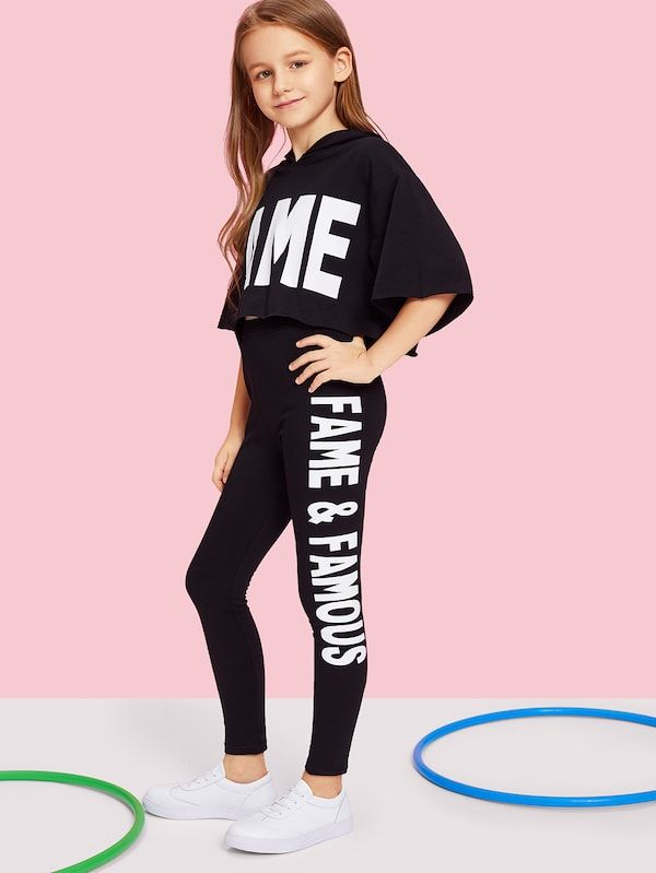Girls Letter Print Hooded Top Pants Set Shein Sheinside With