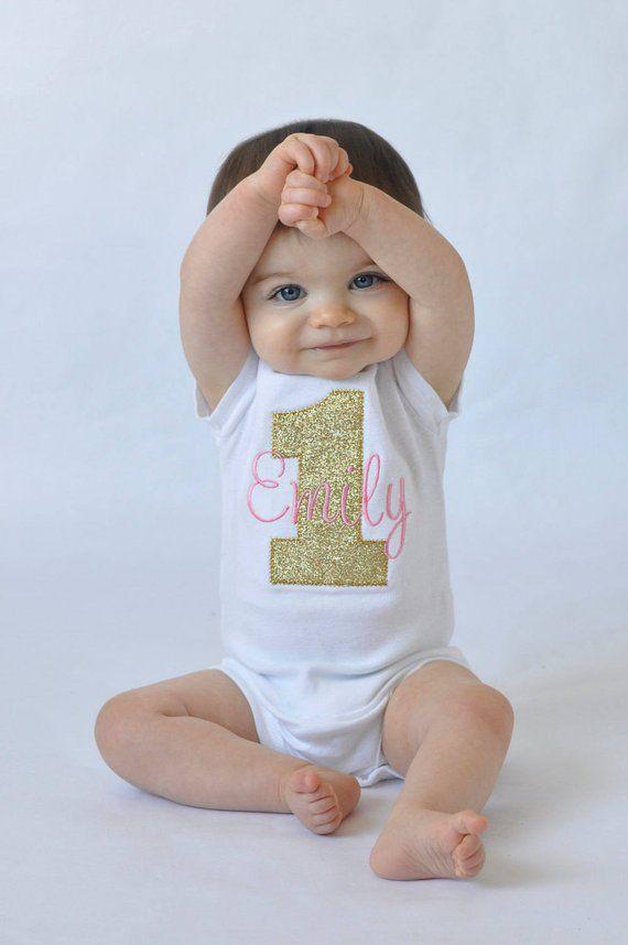 Mädchen erster Geburtstag Shirt – Mädchen erster Geburtstag Outfit – erster Geburtstag Mädchen Shirt – Glitter Geburt