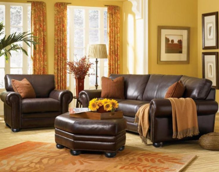 The monroe leather sofa set in rome burnt orange living for Yellow brown living room ideas