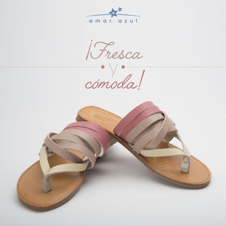 Delicada y hermosa al caminar con nuestras #Sandalias en 100% cuero y #HechasEn Colombia.  #beachwear #amarazulswimwear