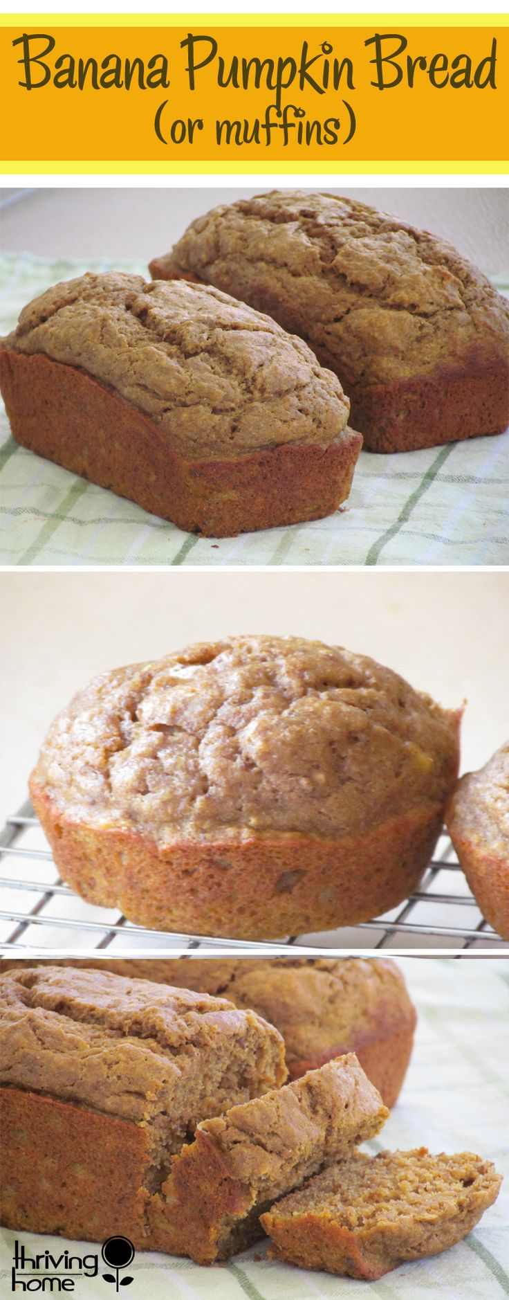 This whole wheat Banana Pumpkin Bread is absolutely delicious and healthy!