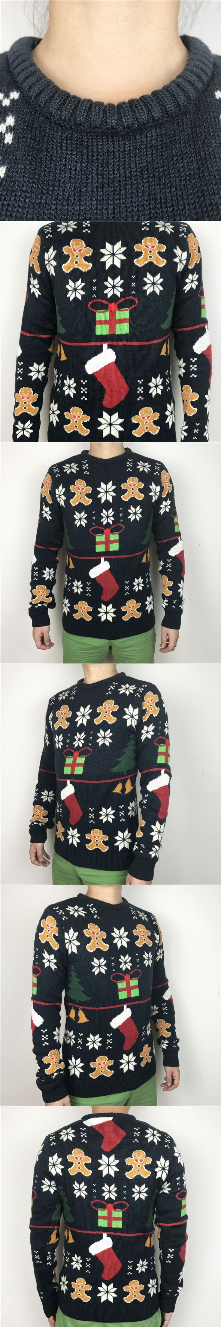 Funny Ugly Christmas Sweaters for Men and Women Cute Girls Knitted Xmas Gingerbread Man Pattern Jumpers Pullovers Plus Size S-XL