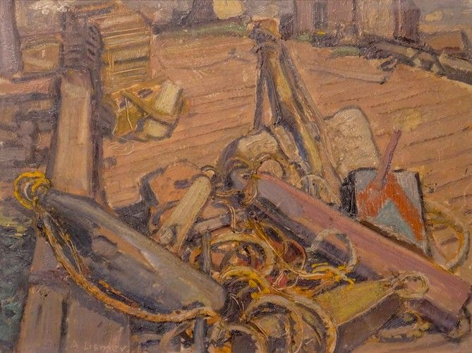 Arthur Lismer - Ropes and Gear Neil's Harbour Cape Breton I., N.S. 12 x 16 Oil on canvas board (1946)