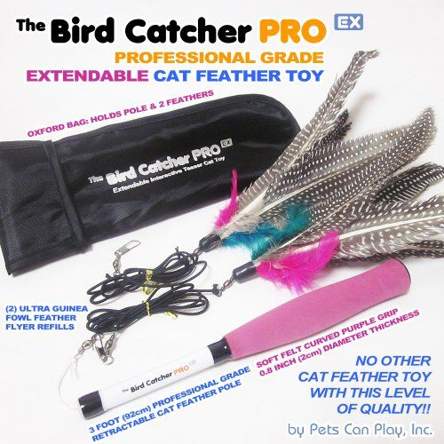 Pets Can Play The Bird Catcher PRO EX Extendable Interactive Cat Teaser Wand Rod with Super Guinea Fowl Feather Refills and Storage Bag *** Read more info by clicking the link on the image.