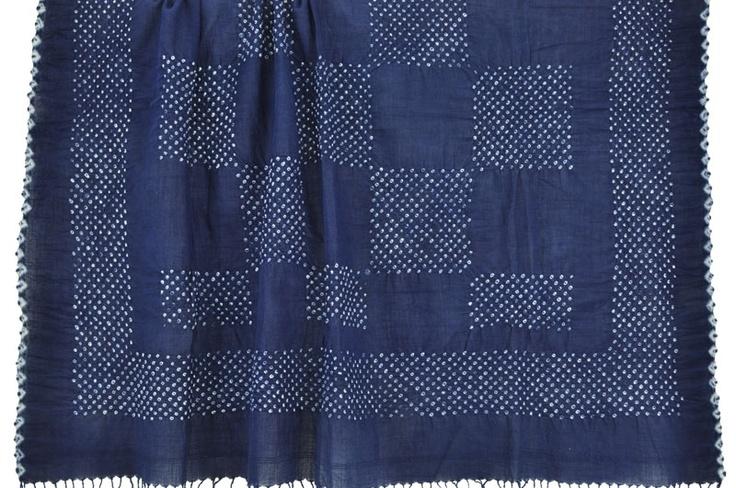 Cotton Indigo Bandhani Wrap with Blocks handmade in India. ||ClothRoads
