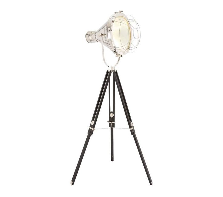 nickel tripod studio designed spotlight floor lamp with protective net with an adjustable tripod stand - Spotlight Floor Lamp