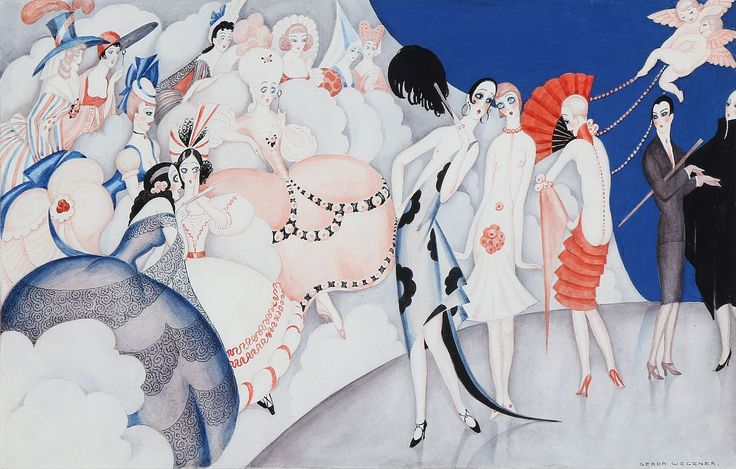 Gerda Wegener: Fashion show for ladies from the past. Signed Gerda Wegener. Pen and watercolour on paper. Visible size 33×47 cm.