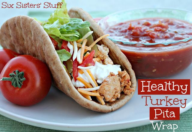 Looking for a Healthy Lunch Idea? You will love our Healthy Turkey Pita Wrap from Sixsistersstuff.com #lunch #recipe