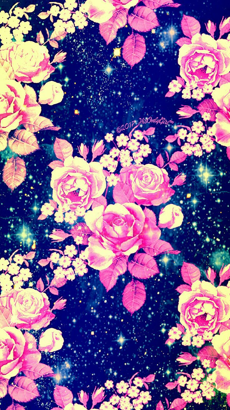 Vintage flowers galaxy wallpaper I created for the app CocoPPa!