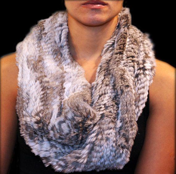 Elastic knitted rabbit fur scarf or shawl for women by criveropiel, $195.00