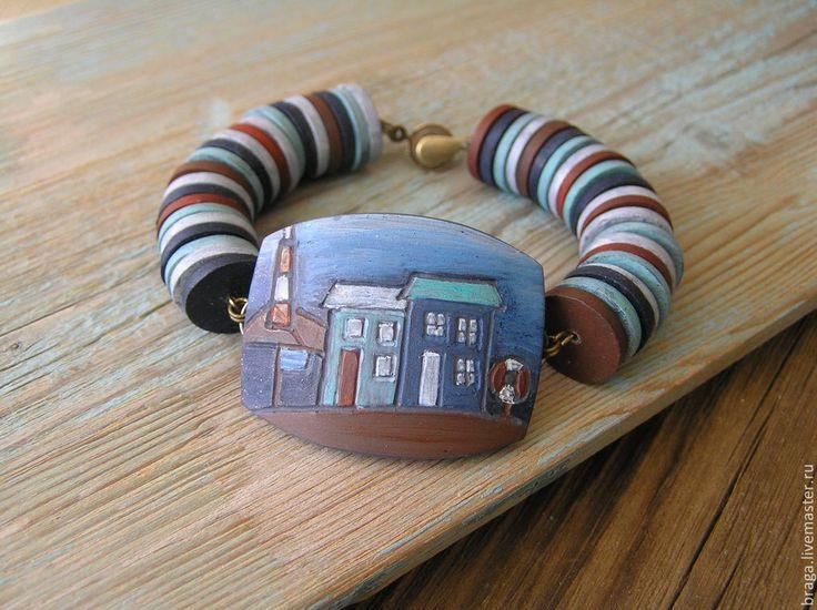Купить Браслет У моря из полимерной глины - браслет, браслет морской, браслет…