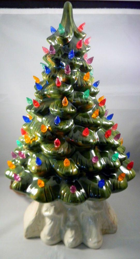 vintage ceramic christmas tree vintage ceramic lighted christmas tree white base 2 piece ebay - Ebay Christmas Trees