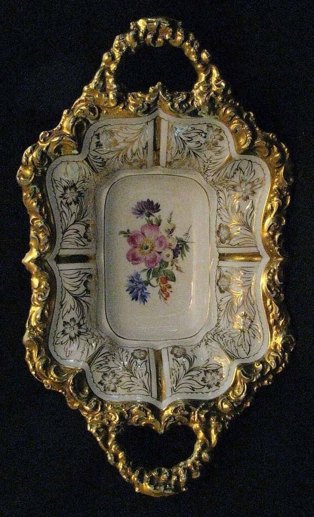 Meissen Double Handled Centerpiece Bowl Heavily Gilded c. Early19th Century