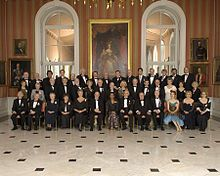 Order of Canada - Wikipedia, the free encyclopedia    Governor General Michaëlle Jean, then Chancellor and Principal Companion of the Order of Canada, poses with a full group of Order of Canada appointees at the 101st investiture ceremony banquet in the Tent Room of Rideau Hall, 11 April 2008