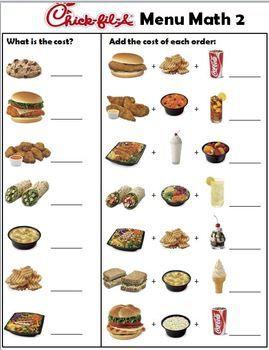 ChickFilA Menu Money Math + Worksheets