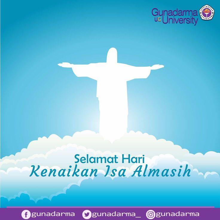 Civitas Akademika Universitas Gunadarma mengucapkan Selamat Hari Kenaikan Isa Almasih bagi yang merayakannya.