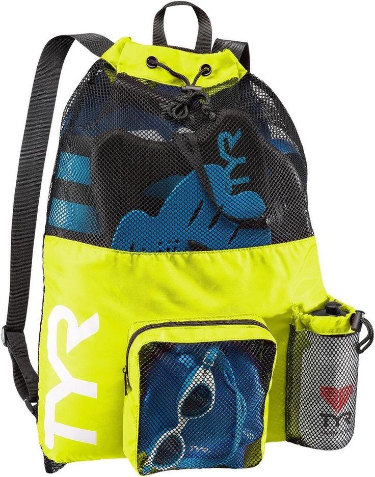 NEW TYR BIG Mesh Equipment Backpack Mummy Bag Pack Bag for Wet Swim Gear Yellow in Sporting Goods, Water Sports, Swimming | eBay