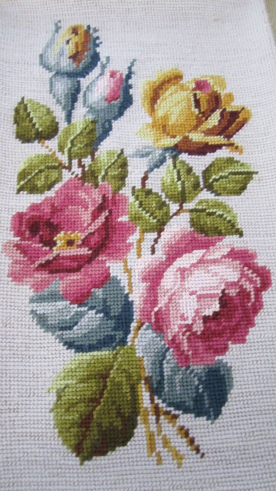 Vintage Wool Needlepoint Pillow Cushion Cover Beige Floral Roses
