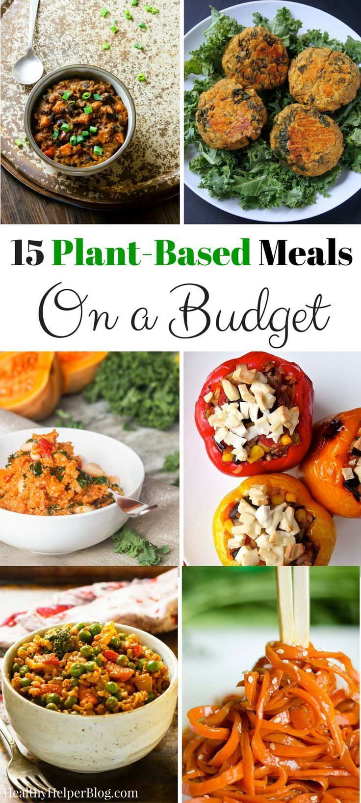 15 Plant-Based Meals on a Budget   Healthy Helper @Healthy_Helper Vegan and vegetarian meals the whole family will love! Healthy eating doesn't have to be expensive and these delicious, nutritious dishes prove that!