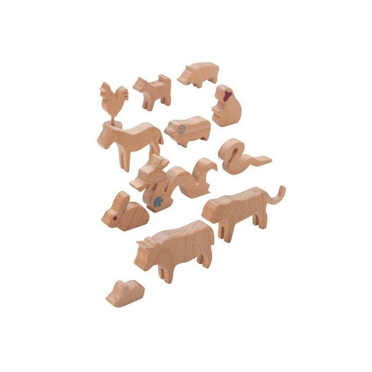 Chińskie znaki zodiaku figurki drewniane
