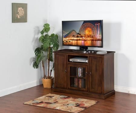 "Santa Fe Collection 3474DC-48 48"" TV Console with Center Speaker Open Space Beehive Glass Door and Adjustable Shelves in Dark Chocolate Finish"