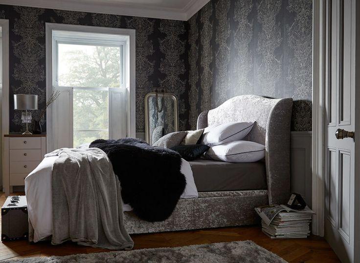Showan Silver Crushed Velvet Ottoman Bed Frame | Dreams