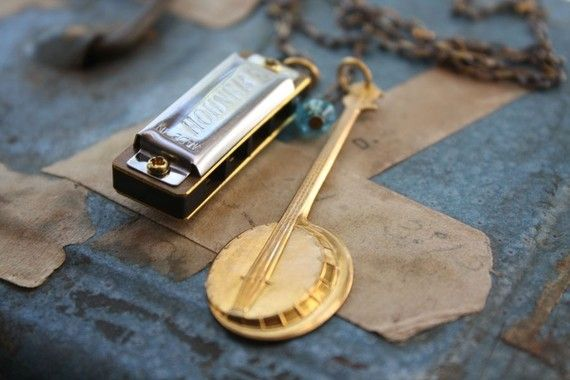 Front Porch Music Necklace with Harmonica and by ChristineDomanic, $36.00