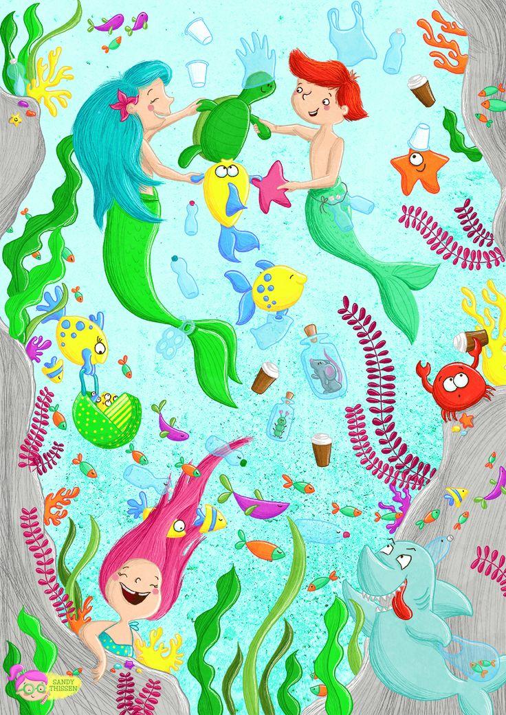 Unterwasser Wimmelbild zum Thema Verschmutzung / Plastik im Meer, Kinderbuch Illustration Sandy Thissen