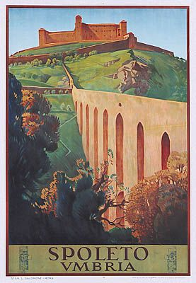 Vintage Travel Poster of my beautiful hometown: Spoleto - Umbria