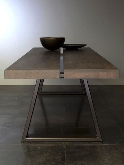♂ Contemporary masculine minimalist interior design home deco brown table