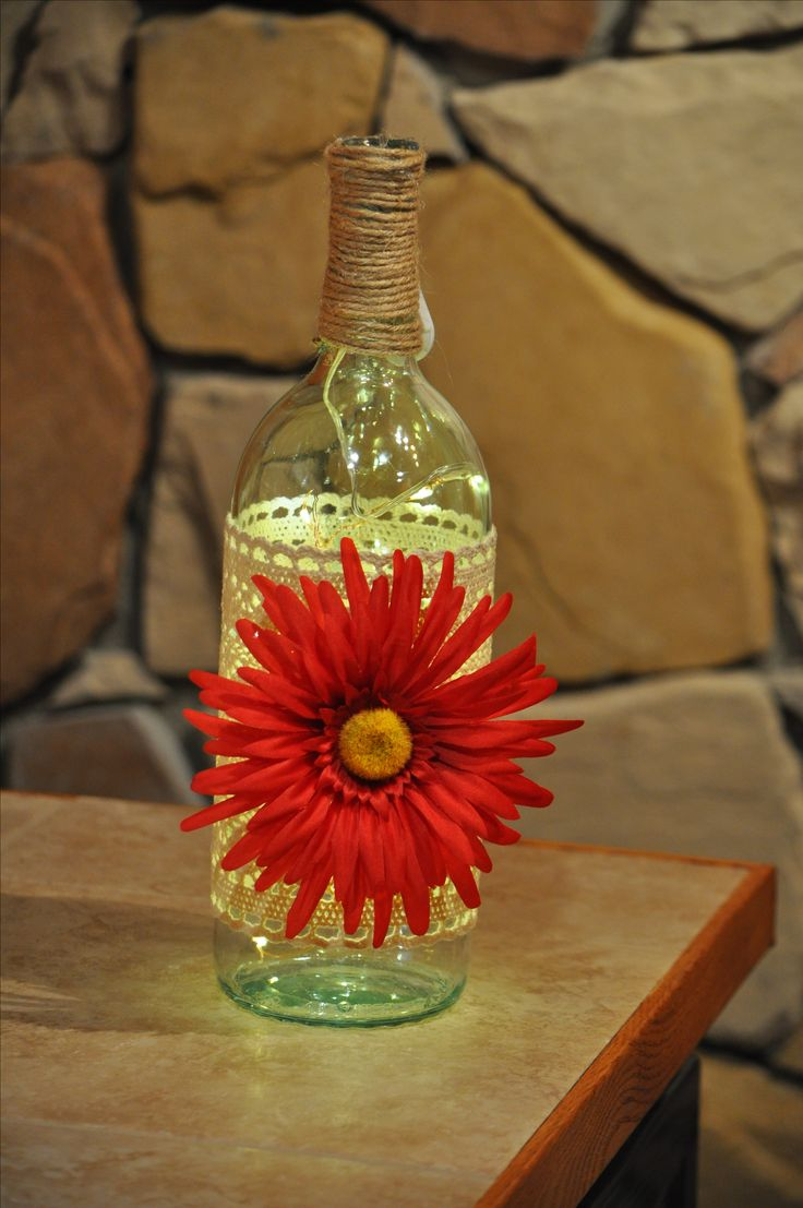 Wine Bottle w/Red Flower | Art With A Past | Red flowers, Bottle, Upcycle