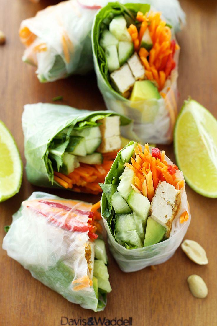 Vegan Rice Paper Rolls with Hoisin Peanut Dipping Sauce